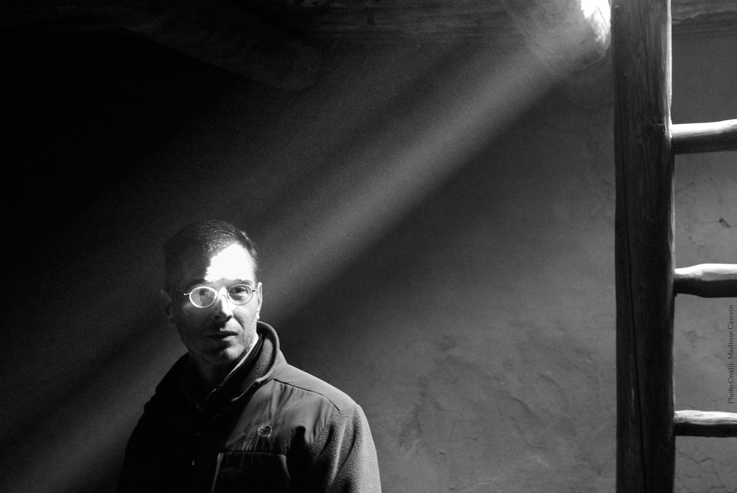 Matt Gatton in subterranean chamber (photo credit: Madison Cawein).