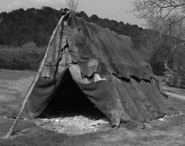 Paleolithic tent reconstruction from the Musée du Malgré-Tout in Treignes, Belgium.