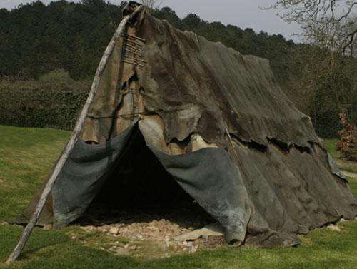 Paleolithic tent reconstruction from the Musée du Malgré-Tout in Treignes, Belgium