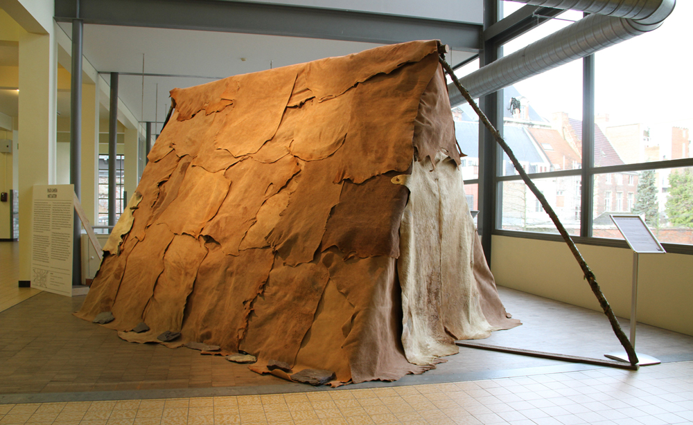 Paleolithic tent reconstruction, Artefact Festival, De Prehistorie van het Beeld (Prehistory of the Image),  Bibliotheek Tweebronnen, Leuven, Belgium. Constructed by experts from the Musée du Malgré-Tout.